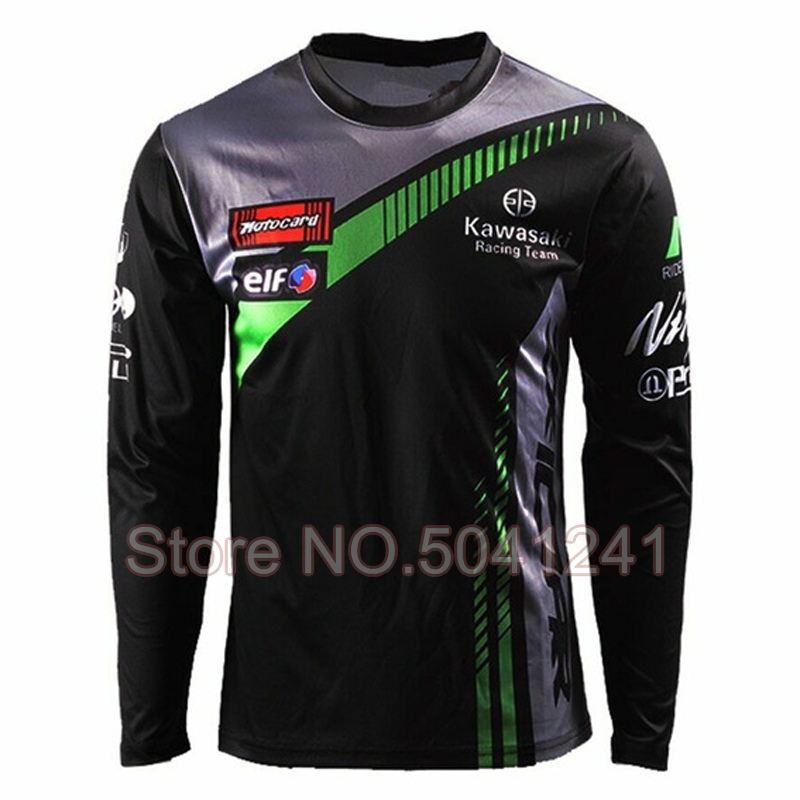 Street Motorcycle Long Sleeve T-shirt for Kawasaki Team Racing Moto GP Wear Black Jersey