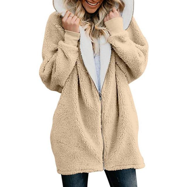 Winter Fleece Sweater Sherpa Fleece Fluffy Long Cardigan Faux Fur Autumn Winter Hooded Streetwear Women Zippered Sweaters