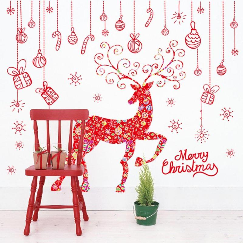 Fancy Red Sika Deer Wall Sticker Christmas New Year Shop Window Vinyl <font><b>Decals</b></font> Wallpaper Removable DIY Mural Poster Home Decor