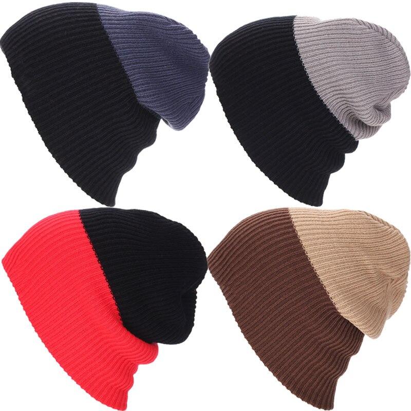 Hot Spring Winter Women Men Unisex Knitted Cap Casual Beanies Double Colors Snap Slouch Bonnet Beanie Hat Hot Sale
