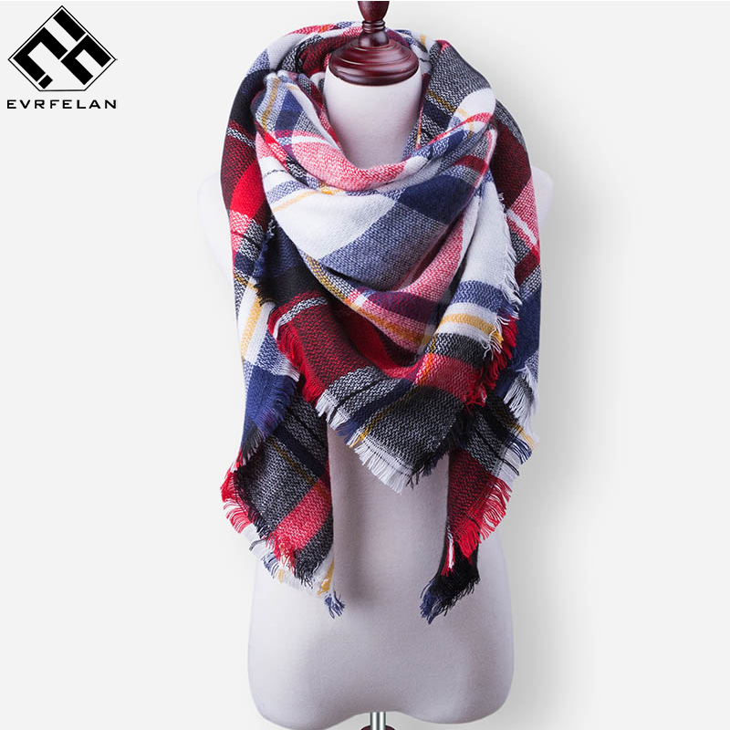 Evrfelan Women'S Plaid Scarf Shawls Autumn Winter