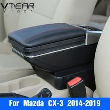 Vtear для mazda CX-3 CX3 2018 2019 аксессуары подлокотник коробка центральный магазин коробка содержание держатель стакана, пепельница подкладке автомобиль-Стайлинг