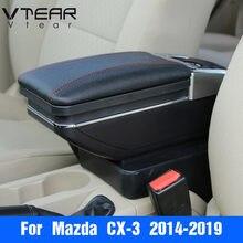 Vtear-caja de reposabrazos para mazda CX-3 CX3, compartimento de almacenamiento, portavasos, Cenicero interior, accesorios de estilismo para coche, 2019, 2020