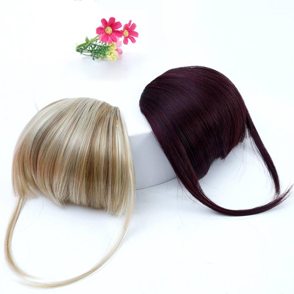 Aosi peruca franja grampo em extensões de cabelo frente puro bang franja um pedaço stright cabelo com alta temperatura fibra sintética cabelo