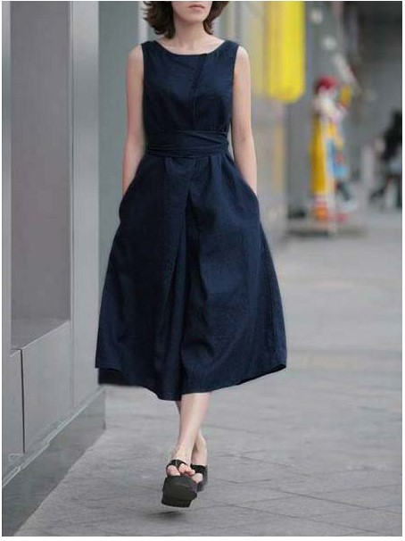 75eeceb280e 2016 New fashion long dresses women Korean style dark blue red clothing  sleeveless linen dress office lady casual slim dress XL