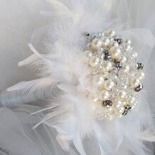 6 inch Ivory Grey Purple Pearl feather bridal brooch bouquet Wedding Bride 's Rhinestone Jewelry crystal Pearl Mini Bouquets