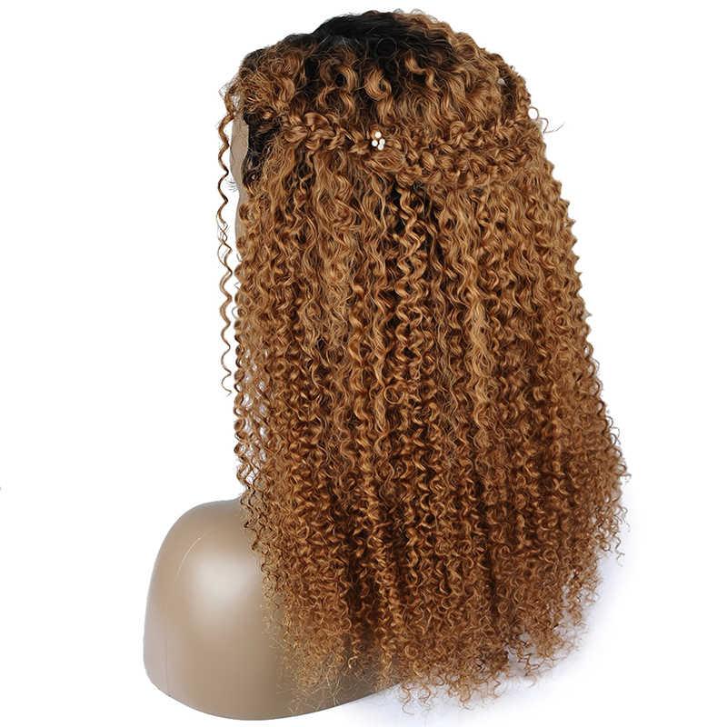 Pinshair Ombre блондинка афро странный вьющиеся волосы человека парики для Для женщин T1B/30 бразильский Синтетические волосы на кружеве парик non-реми застежка парик