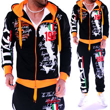 ZOGAA Spring Autumn Hoodie Sweater Jacket+joger Sweatpants Man Printing Suits 2PCS Tracksuit Men Casual Patchwork Sportwear Set