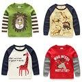 Shell roupas de primavera dos desenhos animados das crianças roupas de outono das crianças criança do sexo masculino do bebê da criança T-shirt da longo-luva camisa básica top