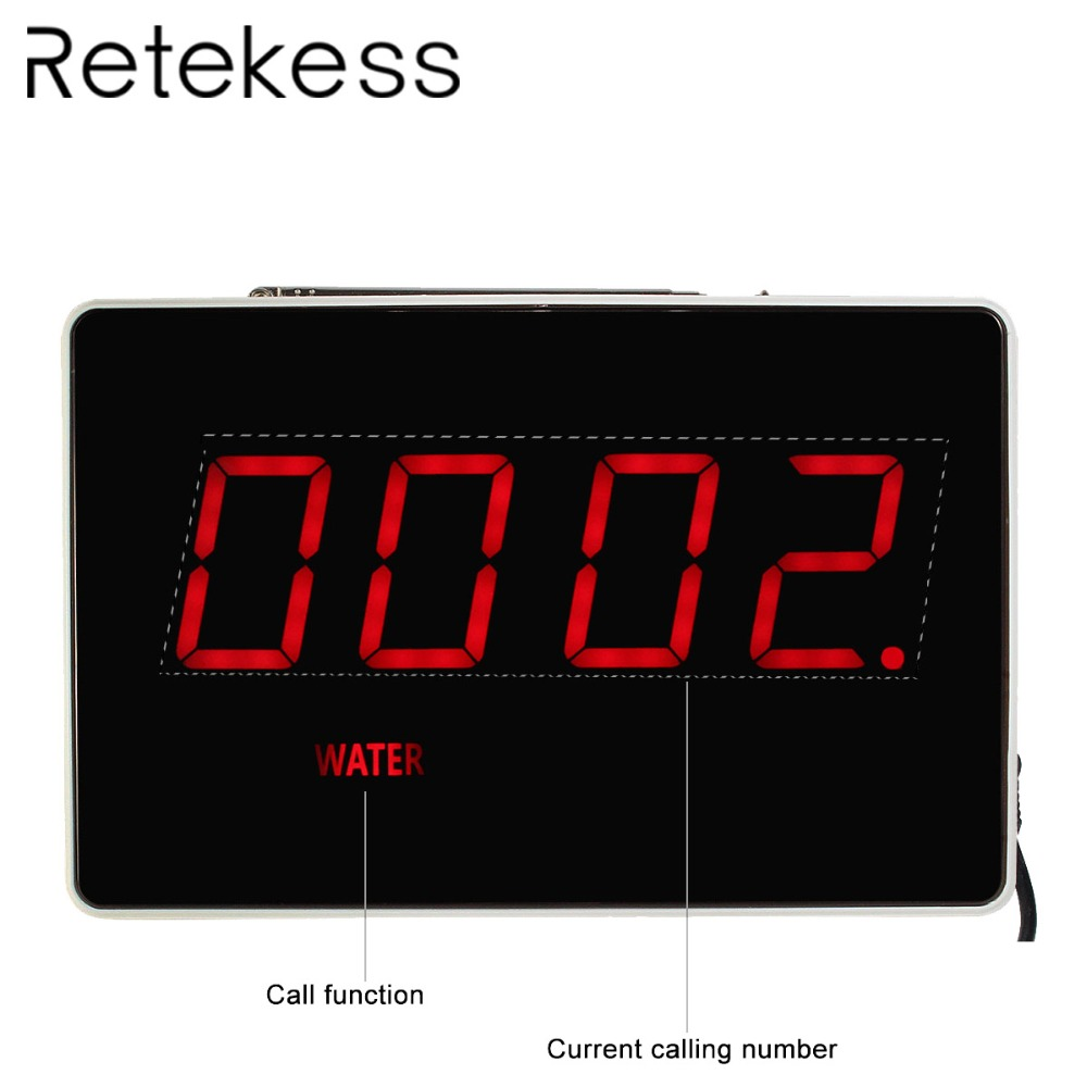 RETEKESS Four Digit Display Receiver Host Voice Reporting Broadcast for Wireless Restaurant Waiter Calling System 433