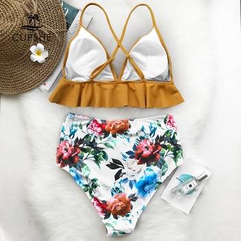 CUPSHE Rose Ruffled Hem Bikini Set Women Flora V-neck High-waisted Two Piece Swimsuit 2020 Girl Beach Bathing Suit Swimwear 2