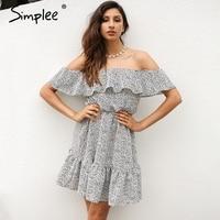 Simplee Sexy Off Shoulder Ruffle Dot Summer Dress Women Casual Beach Chiffon Short Dress Robe Elegant