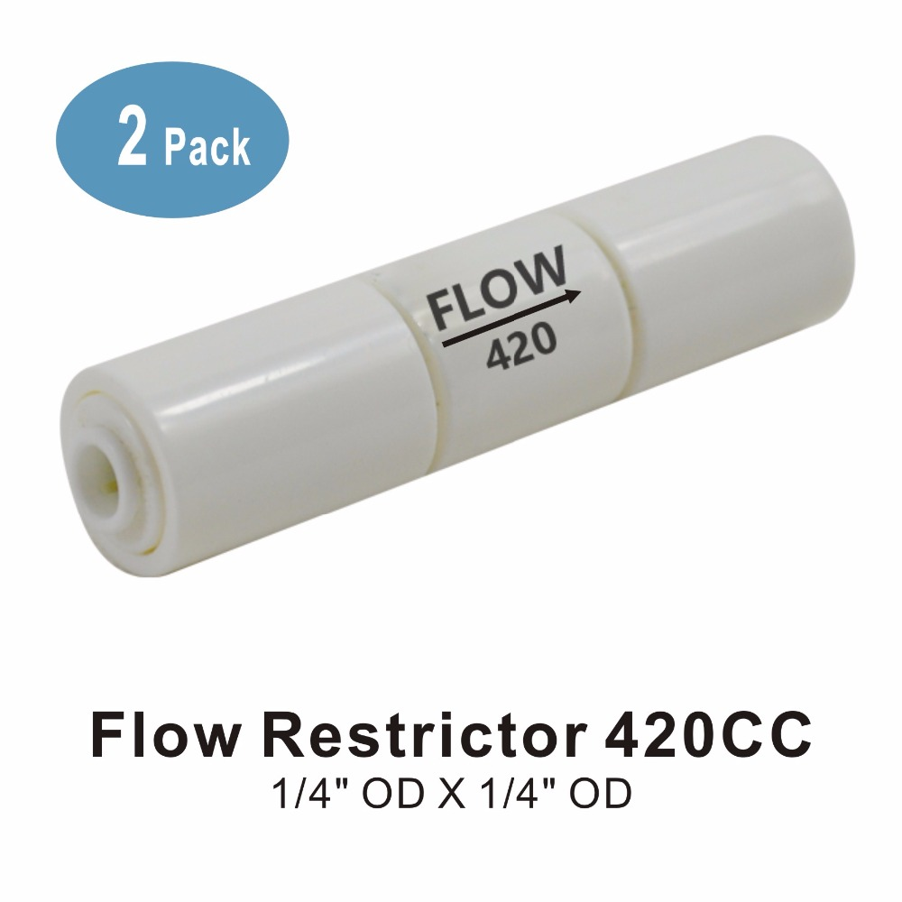 Flow Restrictor 420CC 1/4-Inch Quick Connect For RO Reverse Osmosis Systems - Pack Of 2