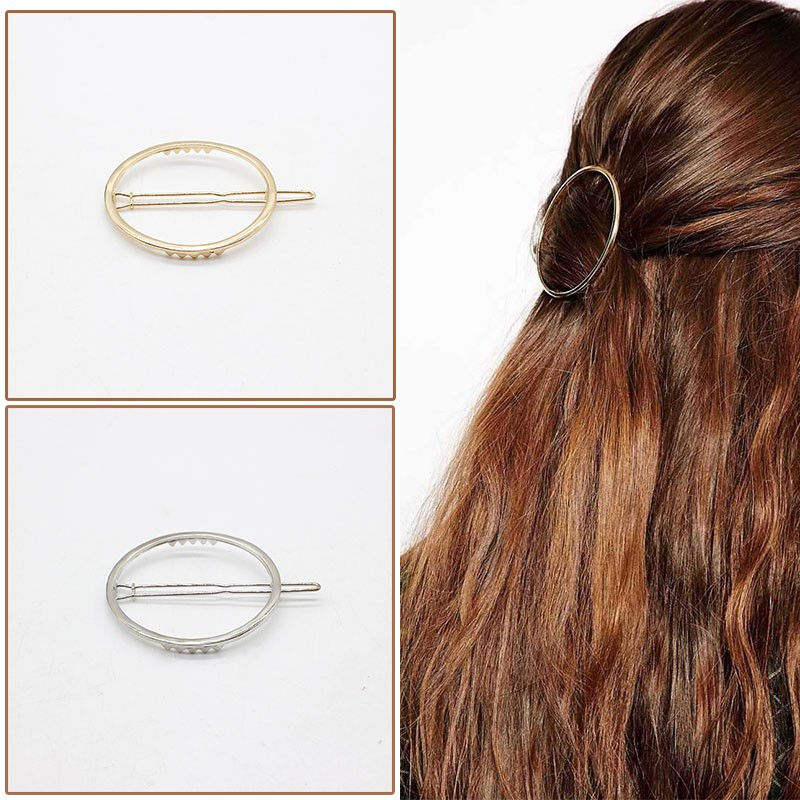 NEW Fashion Hairpins Round triangle Moon Hair pins Metal head jewelry for Women Lady Barrette Clip Hair Accessories Girls Holder 3