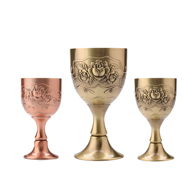Brand New Drinking Tool Vintage Hand-made Pure Copper Engraving Flower Pattern Wine Glass Water Goblet AA