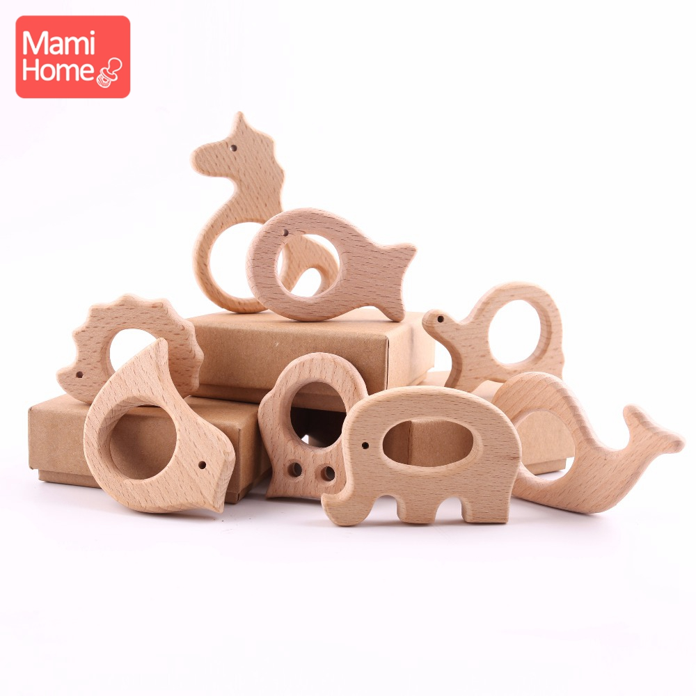 Mamihome 8PC DIY Crafts Accessories Beech Animal Pendant Wooden Teething Toys Newborn Gifts Food Grade Materials  Baby Teether
