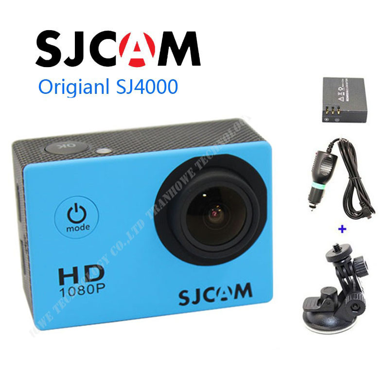 Free shipping!!Original SJCAM SJ4000 Full HD 1080P Waterproof Action Camera Sport DVR +Extra 1pcs battery+Car Charger+Holder free shipping original sjcam sj5000 sport action camerar car charger holder monopod extra 1pcs battery battery charge for camera