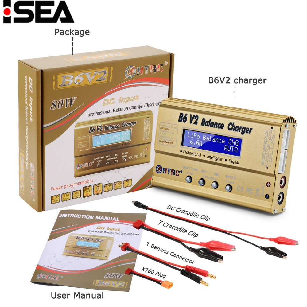 HTRC Imax B6 V2 80 w Professionale Digital Caricatore Dell'equilibrio Della Batteria Scaricatore per LiHV LiPo LiIon LiFe NiCd NiMH PB batteria