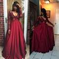 Claret V neck Long Sleeve Sexy A Line Evening Dress See Throuth 2017 Stain Floor Length Pleats Robe de Doiree Plus Size