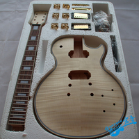 Tiger Pattern 3A Grade Maple Veneer LP Style Electric Guitar DIY Kit Set African Mahogany Okoume