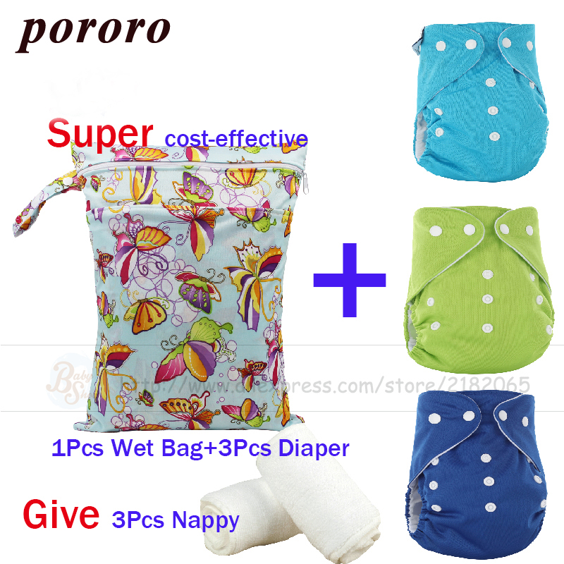 New Arrival Newborn Baby Care Set 3 Pcs Reusable Merries Diaper Fralda +1pcs Wet Bag Bolsa Mojada+3pcs Nappy Baby 7Pcs Gift Set ...