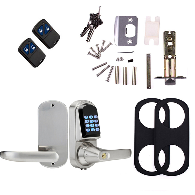 Waterproof Gate Lock Mini Electronic Code Keypad Digital Door Lock Unlock With Code,Remote controller and Mechanical Key