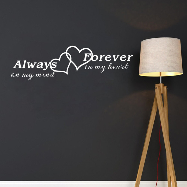 Always On My Mind Forever In My Heart Romantic Quotes Wall Sticker