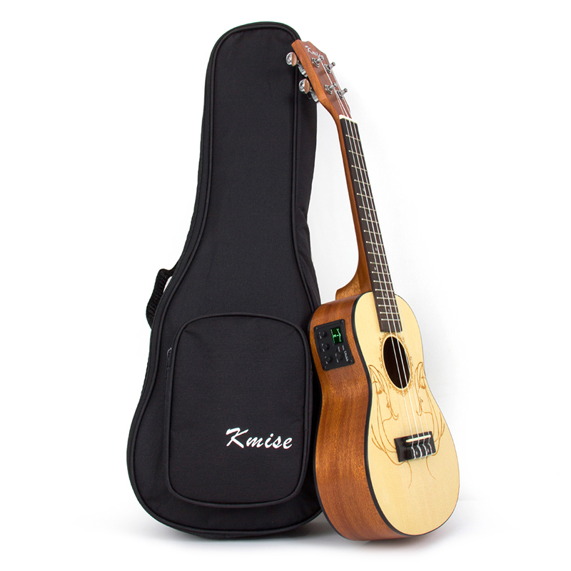 Kmise Electric Acoustic Ukulele Concert Solid Spruce Ukelele Uke 23 inch 18 Fret with Gig Bag kmise concert ukulele mahogany ukelele 23 inch 18 frets uke 4 string hawaii guitar with gig bag