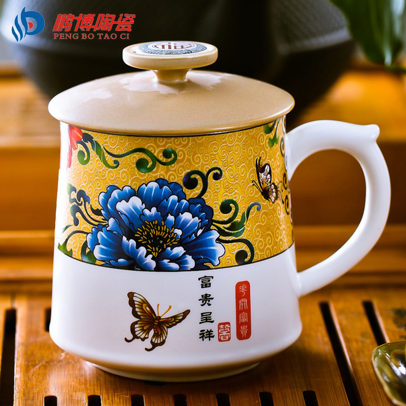 Chinese Culture Valuable Tea Cup Jingdezhen Bone China Porcelain Hand painted Filter Drink Cup