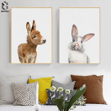 Cute Baby Animal Donkey Canvas Art Print and Poster, Nursery Woodlands Rabbit Canvas Painting Nordic Wall Picture Home Decor cute women s satchel with rabbit print and canvas design