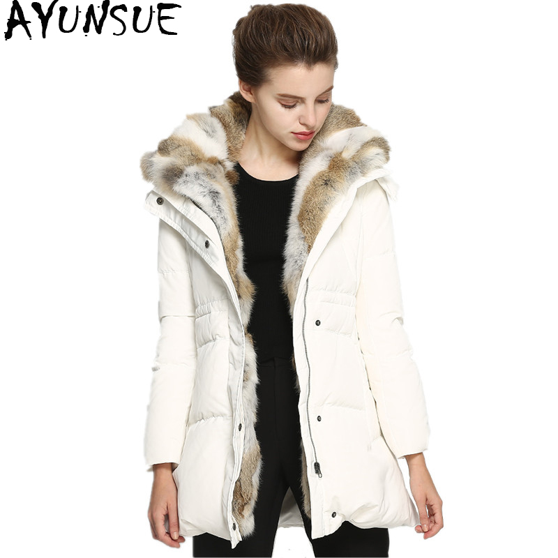 AYUNSUE 2018 New Duck   Down   Jacket Women Parka Thick Rabbit Hair Fur Collar Warm   Down     Coat   Hooded Women's Winter Jackets WYQ1694
