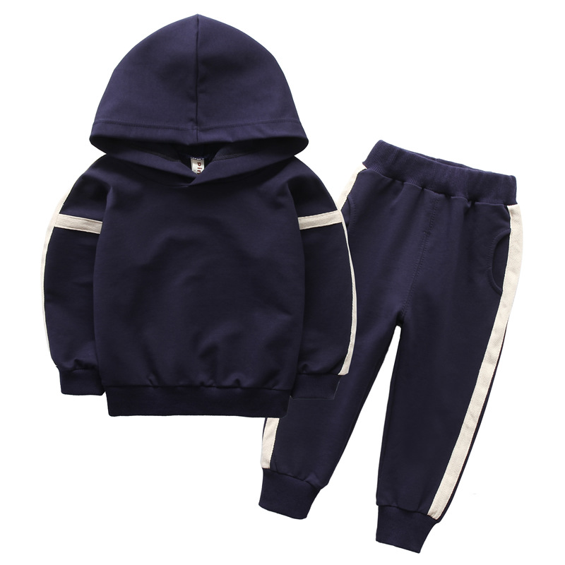 2PCS Toddler Kids Baby Boys Tops Hoodies Denim Ripped Pants Jeans Striped Outfit