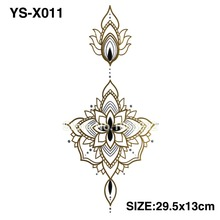 YS-X011 GOLD DIY Chest Flowers BIG Tattoo Stickers Colorful Hot Flashes Waterproof Tatoo Body Art Temporary TATTOO Sticker