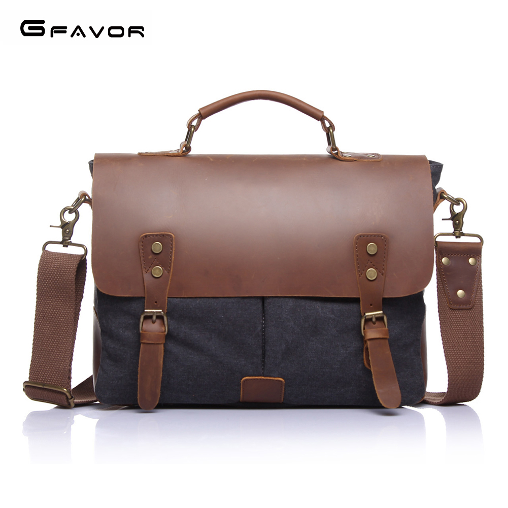 где купить G-FAVOR Genuine Leather Handbag Men Laptop Bag Vintage Business Computer Messenger Bags Male Large Capacity Crossbody Briefcase дешево