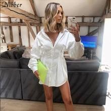 Nibber mini vestido plissado para mulheres, vestido de escritório elegante branco, moda outono 2019, solto, design casual para festaVestidos