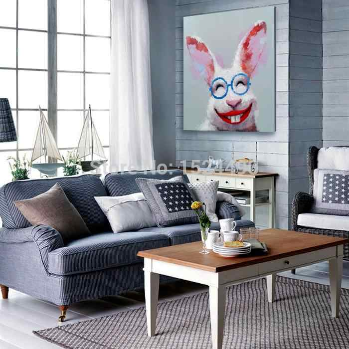 Hand-painted Cartoon Oil Painting on Canvas Confident Rabbit Abstract animal Painting Modern Home Decoration Wall Art Picture