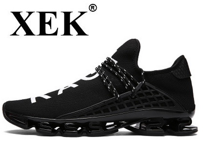 XEK Sport Running Shoes 2018 Lace-up Exercise Couple Sneakers Breathable Mesh Letter Shoes Size 38-44 Sneakers for Men GSS01