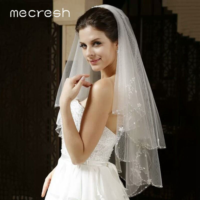 Image 3 - Mecresh Floral Lace Bridal Wedding Veils Women Accessories One Layer White Ivory Tulle Mariage Elbow Length Veil for Bride TS004Bridal Veils   -