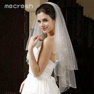 Image 3 - Mecresh dentelle florale mariée Mariage voiles femmes accessoires une couche blanc ivoire Tulle Mariage coude longueur voile pour mariée TS004