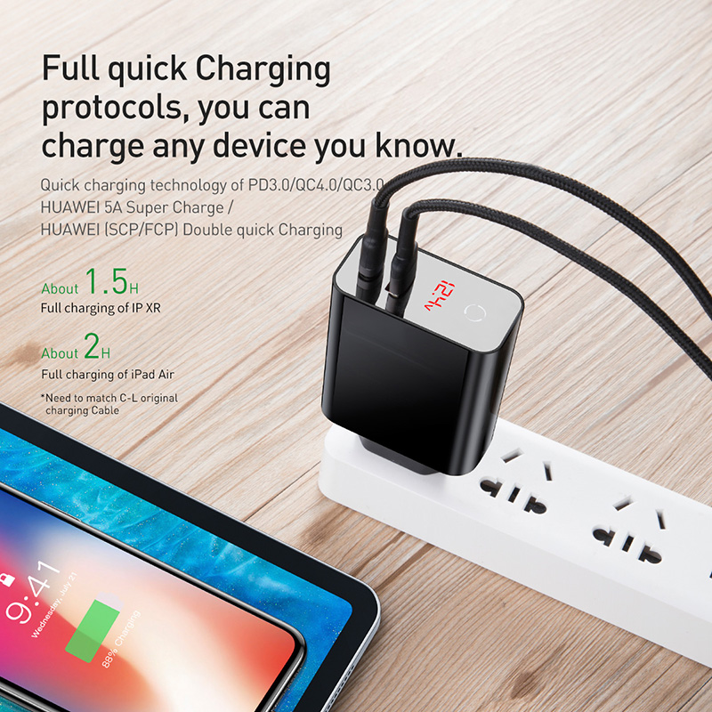 Image 4 - Baseus Digital Display Quick Charge 4.0 3.0 USB Charger QC 4.0 3.0 Charger USB C 18W PD 3.0 Fast Charger for iPhone 11 Pro-in Mobile Phone Chargers from Cellphones & Telecommunications