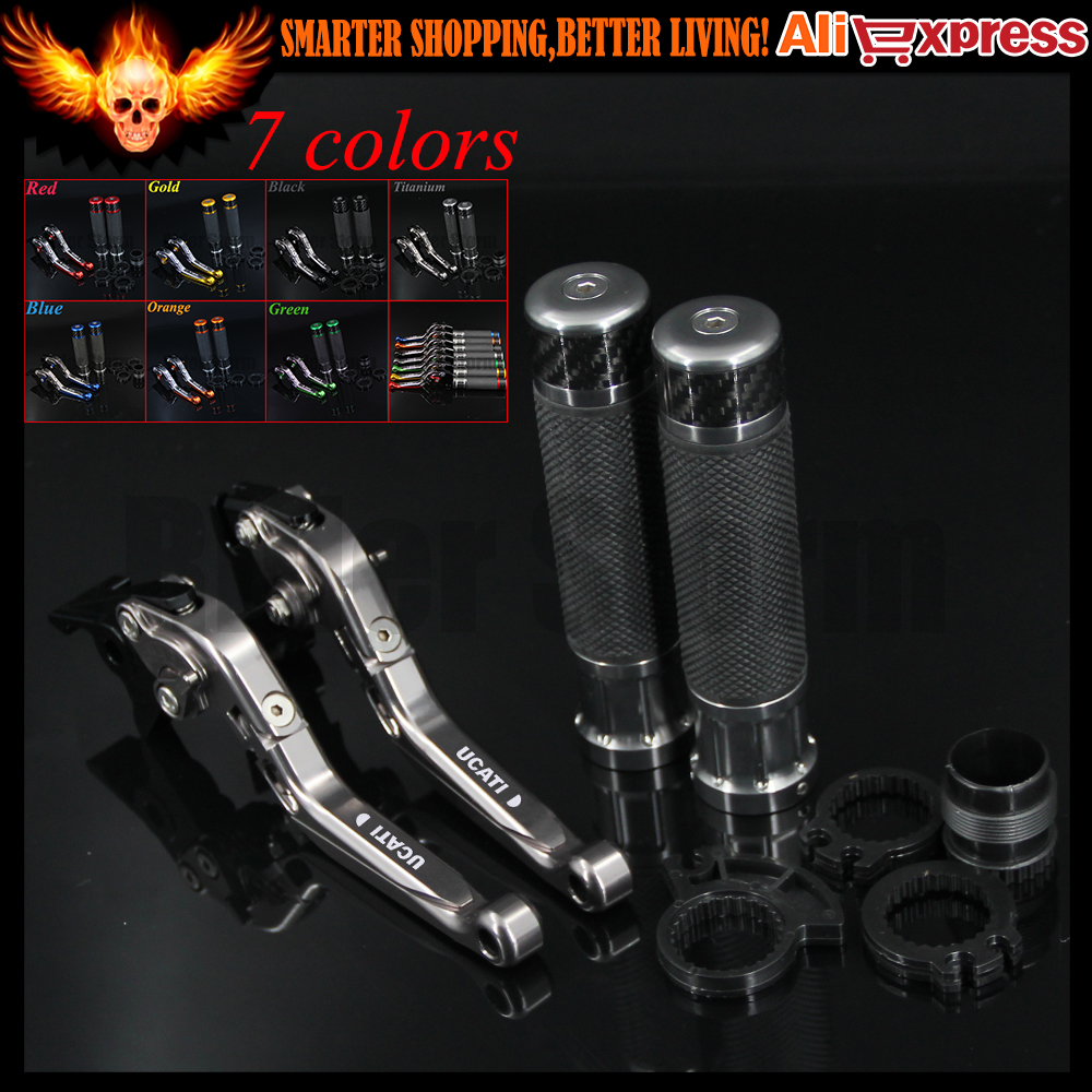 ФОТО 7 Colors Full Titanium CNC Adjustable Motorcycle Brake Clutch Levers&Handlebar Hand Grips For Ducati 748 UP TO 1998