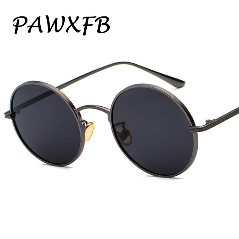 PAWXFB 2018 New High quality Round Sunglasses Women Men Driving Metal Vintage Sun Glasses Female Gradient Oculos de sol Shades