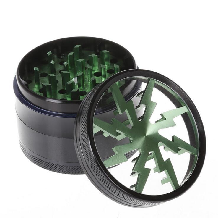 5pcs lot Herb Grinders Aluminium Alloy Grinders crusher With Clear Top Window Lighting Grinder cutting tobacco