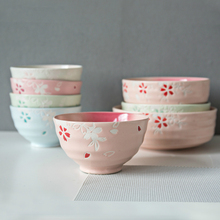 Handmade Creative New Fashion Household Thickening Ceramic Rice Bowl Fruit Salad Tableware Palace Spaghetti Bowl