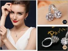 Bridal Dangle Blue Topaz Silver Earrings Crosses CZ Diamond Jewelry White Earring For Women Summer 2016 Bijouterie YE024