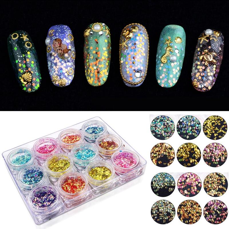 12 kolorów Nail Art Glitter cekiny Nail Powder Palette Mermaid - Sztuka zdobienia paznokci - Zdjęcie 1