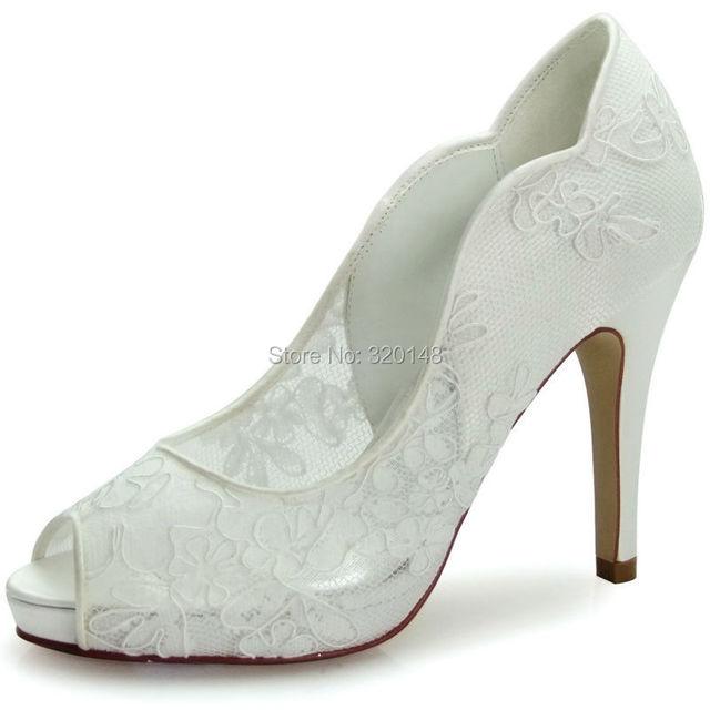 Women Shoes Ivory Lace Wedding Shoes Size US 10 Peep Toe Wave Cutting High  Heel Platform Pumps Wedding Bridal Shoes HP1504I EU 8844ace8fbfa