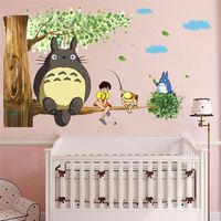 EWAYS-pegatinas de pared de TOTORO para habitación, pegatinas de pared de 9 estilos y 2 tamaños, juegos de dibujos animados, herramientas deoradas