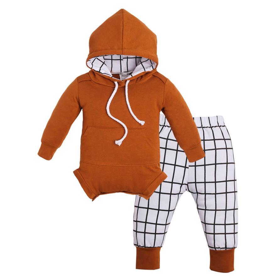 100% Wahr 2018 Neugeborenen Baby Mädchen Jungen Outfit Kleidung Langarm Mit Kapuze Spielanzug Overall + Plaid Hosen Set Herbst Winter Anzug Baumwolle Kostüm