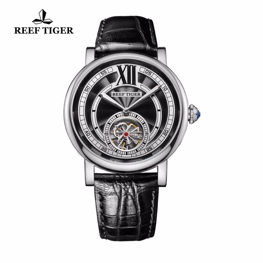 Reef Tiger/RT Brand Tourbillon Watches Mens 316L Steel Automatic Analog Watches Genuine Leather Strap RGA192